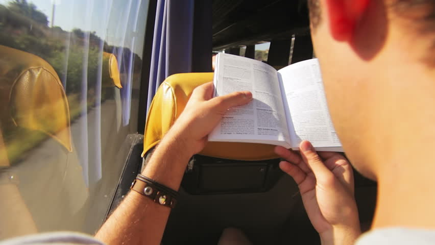 reading on a bus